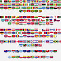 Flags of the world collection all sovereign states recognized by un listed alphabetically by continents eps Stock Photos