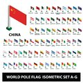 stock image of  Flags of world countries Collection Pole Flags Isometric Set A-G