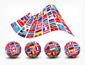 Flags of the world countries. Four globes. Royalty Free Stock Photo