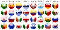 Flags world cup illustration icons set web buttons banners laminated of the and shields buttons Royalty Free Stock Photos