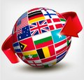 Flags of the world in globe with an arrow. Royalty Free Stock Photo