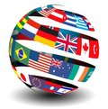 Flags of the world in a globe/sphere Royalty Free Stock Photo