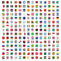 Flags of the world icons rounded rectangles with official rgb coloring and detailed emblems industry standard dimensions Stock Images