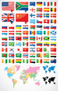 Flags and world map flag icons of the Royalty Free Stock Image