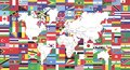 Flags of World and Map of world