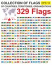 Set of all world flags of sovereign States, territories and organizations with names. Flags of the world. Complete