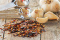 Flakes of red hot chili peppers with garlic Royalty Free Stock Photo
