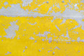 Flaking yellow paint background on an old aluminum boat texture Stock Photo