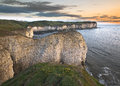 Flamborough head sunrise the chalk cliffs of on the coast of east yorkshire at Stock Images