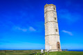 Flamborough old lighthouse on the yorkshire coastline Stock Image