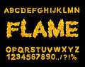 Flame Alphabet. Fire font. Fiery letters. Burning ABC. Royalty Free Stock Photo