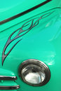 Flame on aqua classic car Royalty Free Stock Photo