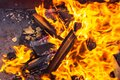 Flame barbecue grill coals of wood heat sparks Royalty Free Stock Photo