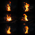 Flame collage horizontal blacksmith forge Royalty Free Stock Photo