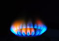 Flame gas energy burning of cooker concept background Stock Photo
