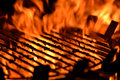 Flame grill close up image of a bbq with flames Stock Photos