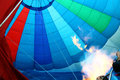 Flame inside a hot air balloon seen Royalty Free Stock Photography
