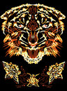 Flame tiger grinning photoshop illustration for t shirt design Royalty Free Stock Image