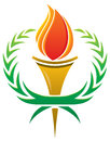 Flame torch logo a with a surrounding laurel wreath Royalty Free Stock Image