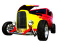Flamed hot-rod with hood open Stock Photo