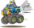 Flamed monster truck cartoon airborne in both full color and line art versions Stock Images