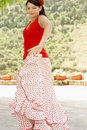 Flamenco dancer dancing outdoors beautiful young female Stock Photo