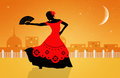 Flamenco dancer illustration of spanish Royalty Free Stock Image