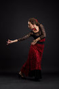 Flamenco dancer portrait of woman in black and red dress Stock Photo