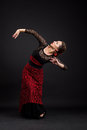 Flamenco dancer portrait of woman in black and red dress Stock Photography