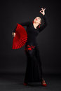 Flamenco dancer portrait of woman in black and red dress Stock Photos