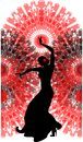 Flamenco dancer on a red fan silhouette of background Royalty Free Stock Photos