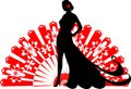 Flamenco dancer on a red fan silhouette of background Royalty Free Stock Image