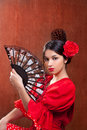 Flamenco dancer woman gipsy red rose  spanish fan Royalty Free Stock Photos