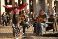 Flamenco group performing on Plaza Mayor Stock Images