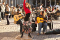 Flamenco group performing on Plaza Mayor Royalty Free Stock Photos