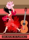 Flamenco night banner. Young spanish girl with fan in shape of flower and guitar on polka dot background Royalty Free Stock Photo