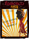 Flamenco poster spanish vintage to announce an awesome party Stock Images
