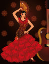 Flamenco spanish dancer girl and guitar vector Royalty Free Stock Image
