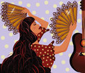 Flamenco spanish girl and guitar illustration Stock Photos