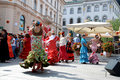 Flamenco on a sunny summer day society luna gitana with presentation of their society dvorni square in ljubljana slovenia august Stock Image