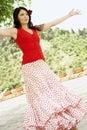 Flamencodanser dancing outdoors Royalty-vrije Stock Afbeeldingen