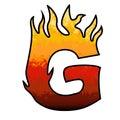 Flames Alphabet Letter G Stock Photo
