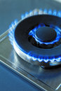 Flames Of Blue Gas. Close Up B...