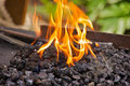 Flames on the coal burning over Royalty Free Stock Photography