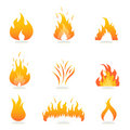 Flames and fire signs Stock Photo