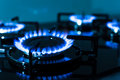 Flames of gas stove shallow dof Royalty Free Stock Image