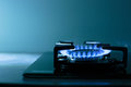 Flames of gas stove shallow dof Royalty Free Stock Photography