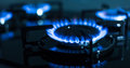 Flames of gas stove shallow dof Royalty Free Stock Photos