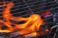 Flames through the grill Stock Images