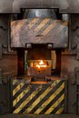 Flames in the incinerator at factory Royalty Free Stock Images